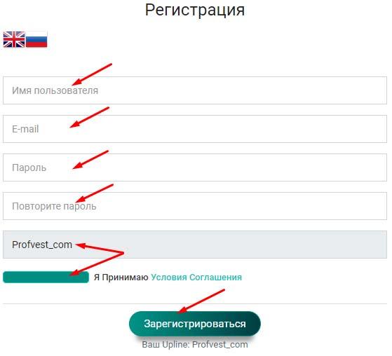 Регистрация в Crypthonex 2