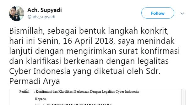 Legalitas Cyber Indonesia Abu Janda Dipertanyakan Advokat