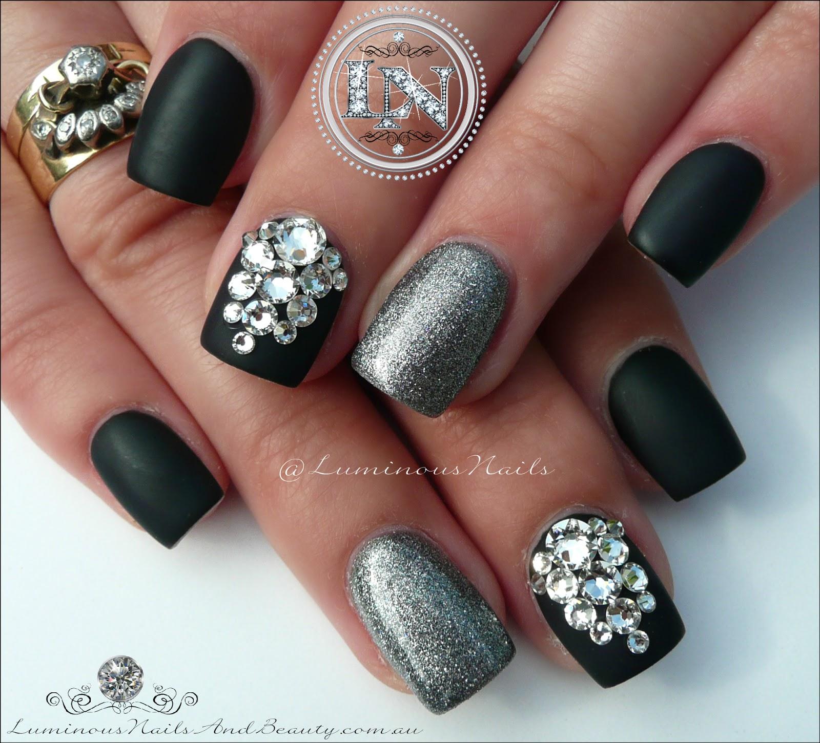 Luminous Nails: Matte Black & Steel Grey with Swarovski Bling ...