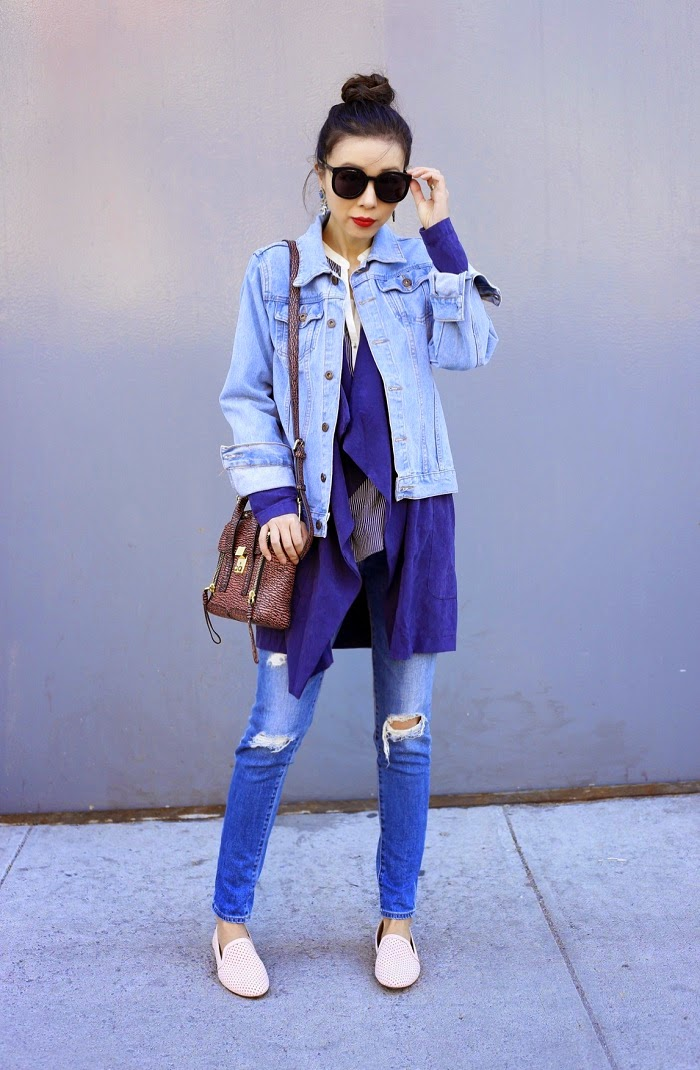 Karen Walker Super Duper sunglasses, Baublebar tiffanty tear drop earrings, ysl lipstick, missguided denim jacket, missguieded draped trench coat, AG jeans, 31philliplim mini pashli bag, yosi Samra preslie shoes, pink flats, how to, spring layers, layering your outfit, fashion blog, nyc
