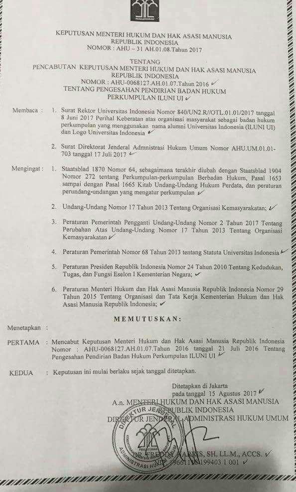 Setelah HTI, Badan Hukum ILUNI UI Dicabut oleh Pemerintah
