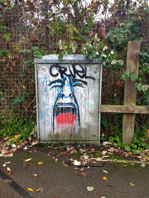 Electricity Box, The Tins, Streetart, Cruel, The Land South of Coldhams Lane, Cambridge, Psychogeography