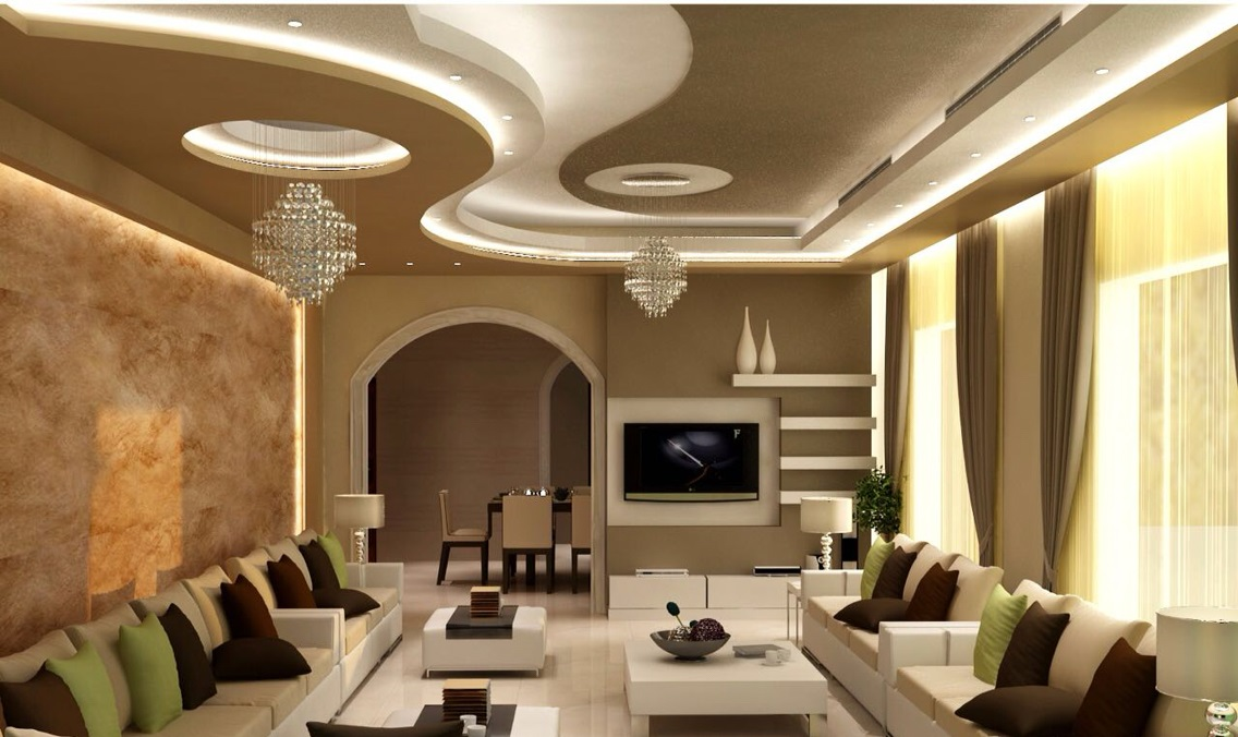 40 latest gypsum board false ceiling designs with led for Latest living hall design