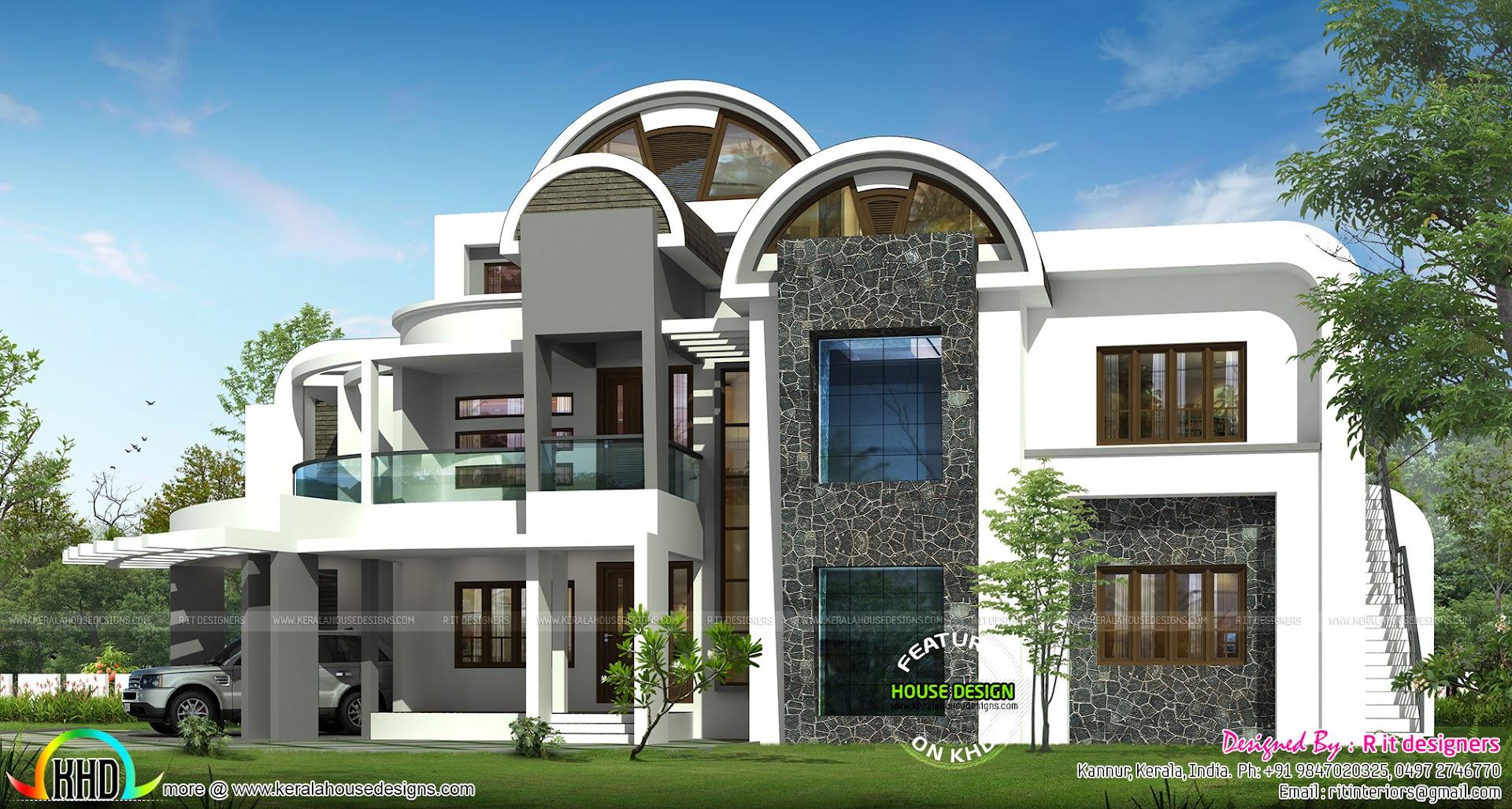 Half Round Roof Unique House Design Kerala Home Design