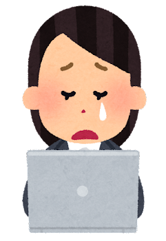 パソコンを使う会社員のイラスト(女性・泣いた顔)