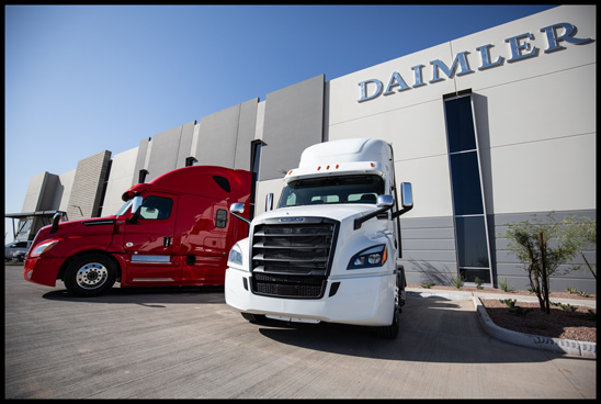 Freightliner Cascadia trucks outside Goodyear, AZ distribution center