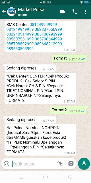 Contoh Reply Transaksi Via WhatsApp Market Pulsa
