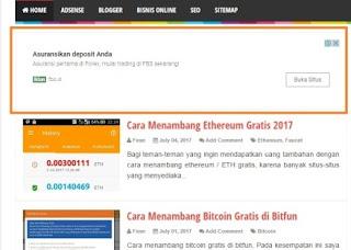 Cara Memasang Iklan In-Feed Adsense di Awal Halaman Depan blog