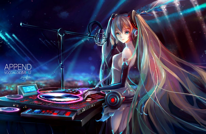Beautiful Anime Girl Microphone Headphones Artwork Hd Wallpaper