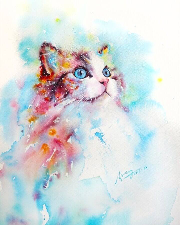 13-Cat-Watercolor-Paintings-liviing-www-designstack-co