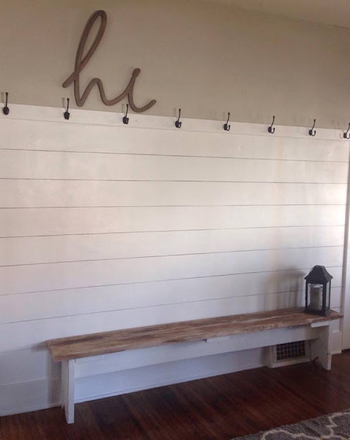 faux shiplap, fixer upper style, gaines, chip and joanna knock off