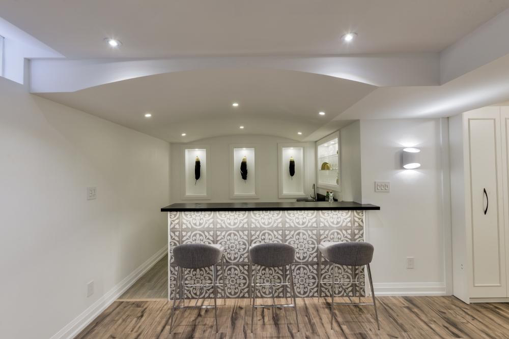 modern bar wtih cement tiles