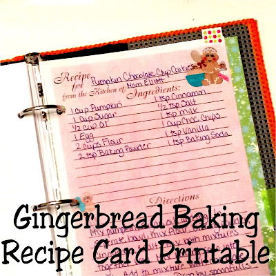 Get your recipes organized and looking good for the holidays and new year.  Start with this cute gingerbread who is baking up a storm in the kitchen.  This printable recipe card is available in three different sizes to keep the fun going when you're knee deep in baking this holiday.