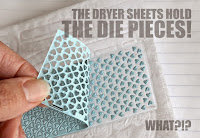 Drier sheet holds tiny die cut pieces - Kelly Griglione