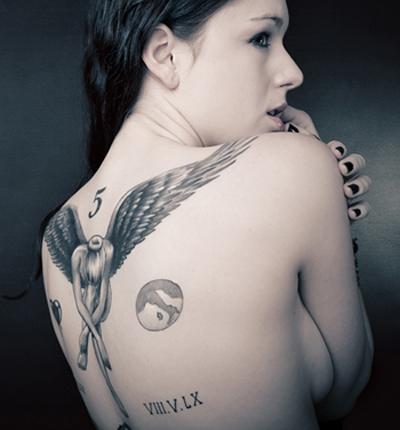 Sexy female tattoo wing