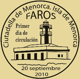 Matasellos PDC de Menorca de la Hoja Bloque de Faros 2010