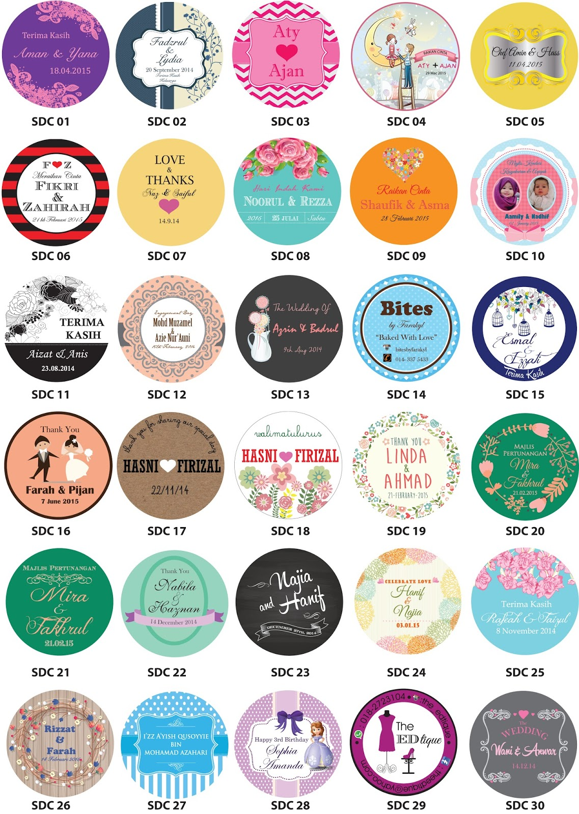 Oh Mai Wedding Door Gift Sticker Kahwin Bunting Button