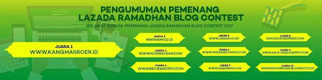 ridho irkham zamroni masuk 10 besar dalam kontes / lomba blog spesial ramadhan dari toko online shop lazada.co.id