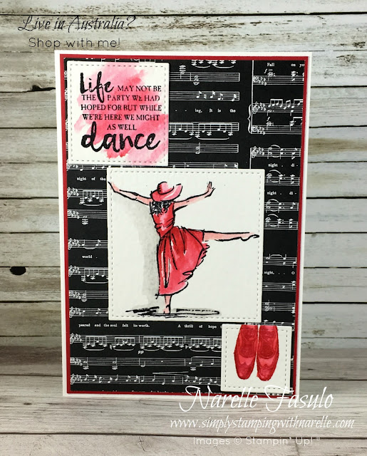 Have a dancer in your family? Then make  them a card just like this using quality supplies - https://www3.stampinup.com/ecweb/default.aspx?dbwsdemoid=4008228 - Simply Stamping with Narelle