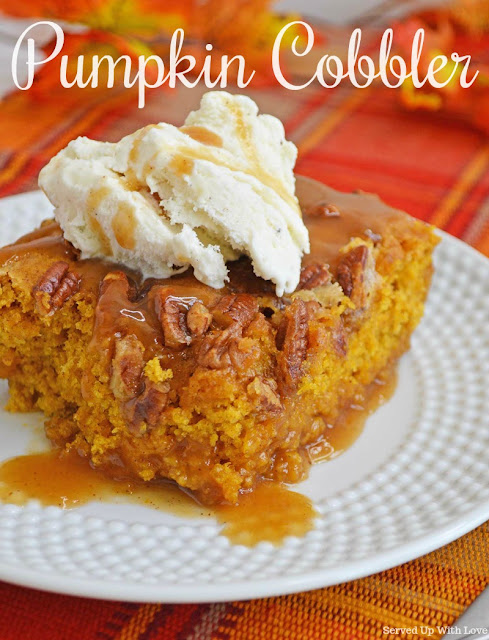 A fun fall twist on a classic favorite dessert. This Pumpkin Cobbler recipe will become your new favorite fall dessert.