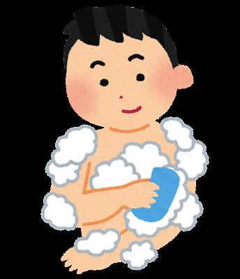 体を洗っている男性のイラスト