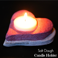 Salt dough heart candle holder -  easy salt dough recipe and salt dough craft ideas for kids