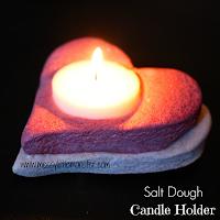 Salt dough heart candle holder - salt dough craft ideas for kids