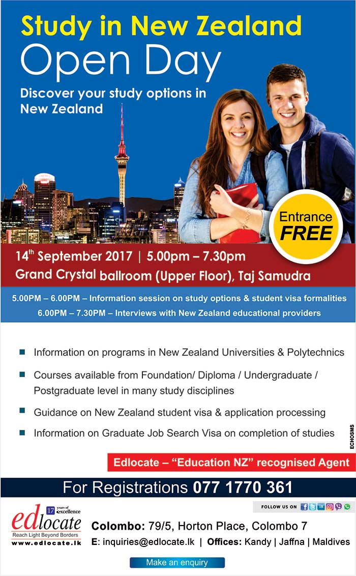 eDlocate | Study in New Zealand Open Day in Colombo.