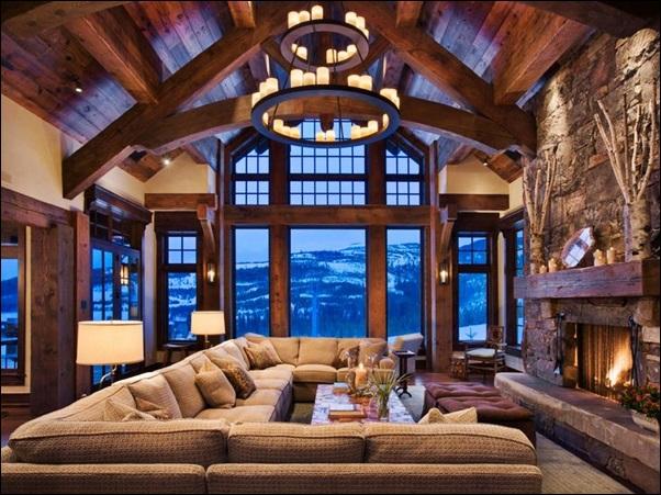 espaço interno do chale rustico de madeira