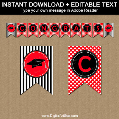 high school graduation banner printable with polka dots and stripes in red and black