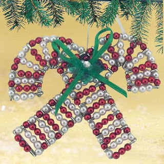 BEADED DOUBLE CANDY CANE ORNAMENTS - Set of 2