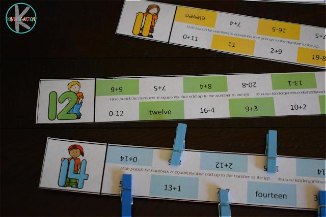 addition clip cards, kindergarten math