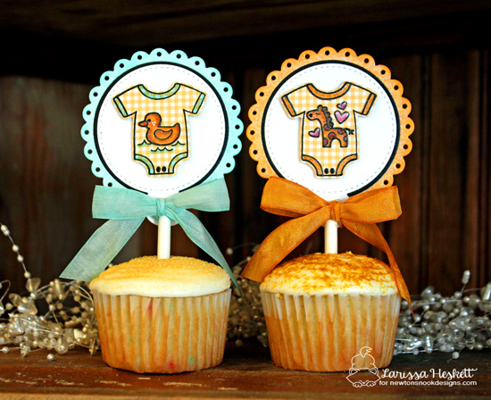 Cute Baby Onesie Cupcake Toppers by Larissa Heskett | Loveable Laundry stamp set and Stitched Onsie die set by Newton's Nook Designs #newtonsnook