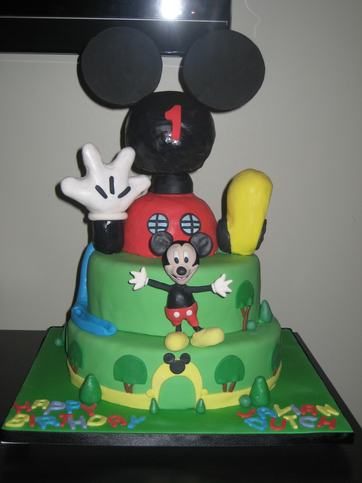 Mickey Mouse Birthday Cake On His Hand