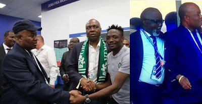 Nigerian senators meet with Ahmed Musa after World Cup match in Russia.