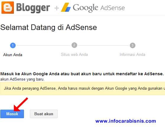 Masuk Akun Google untuk Mendaftar Adsense