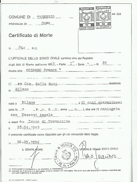 CERTIFICATO DI MORTE DI FRANCESCO COLOMBO