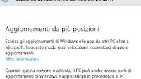 In Windows 10: Download aggiornamenti da altri PC
