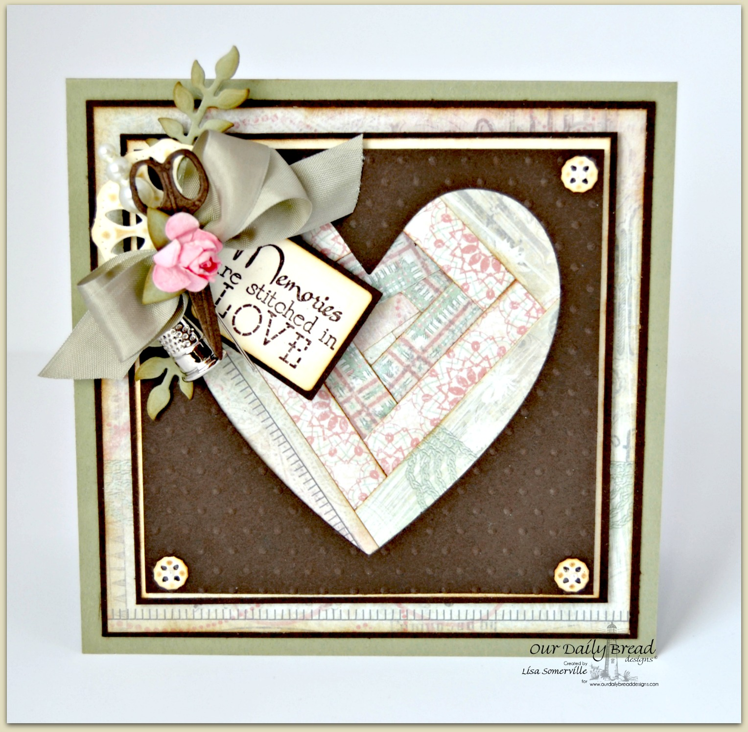 Stitches,ODBD Custom Ornate Hearts Die, ODBD Custom Apron and Tools Die, ODBD Custom Doily Die, ODBD Custom Recipe Card and Tags Dies, ODBD Custom Fancy Foliage Die, Soulful Stitches Paper Collection