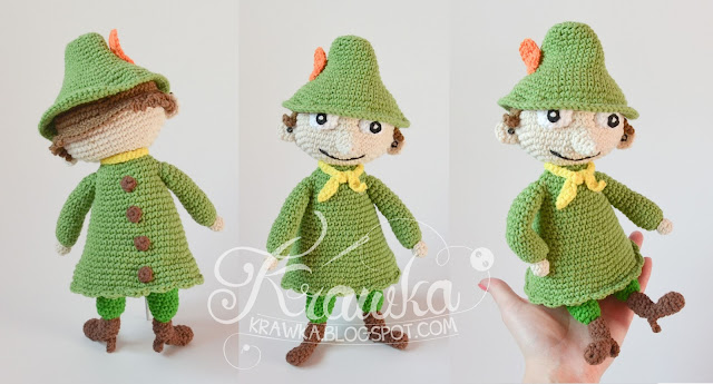 Krawka: Crochet pattern for Snufkin and Little my doll moomin inspired characters: https://www.etsy.com/listing/480012354/crochet-pattern-no-1639-snufkin-doll?ref=listing-shop-header-0