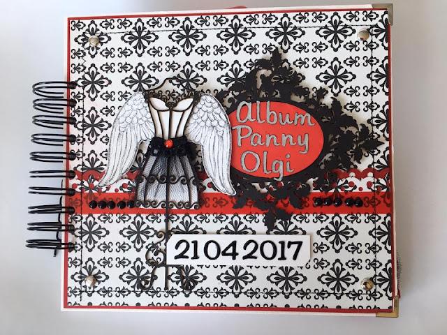 album na panieński ręcznie robiony, manekin, koronki, skrzydła, personalizacja
