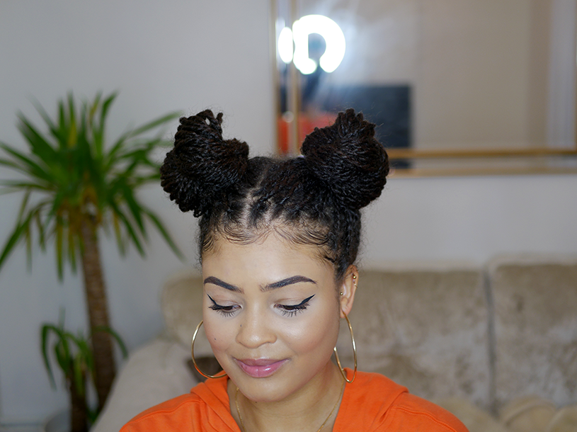 Mini twist hair styles on natural 4a/4b hair- space buns