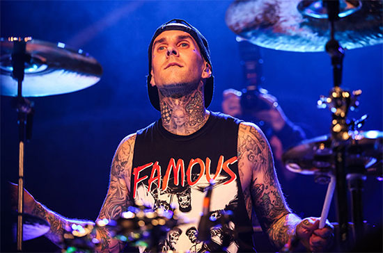 <center>Travis Barker recording fast drums for the new blink-182 record</center>