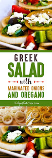 Greek Salad with Marinated Onions and Oregano found on KalynsKitchen.com