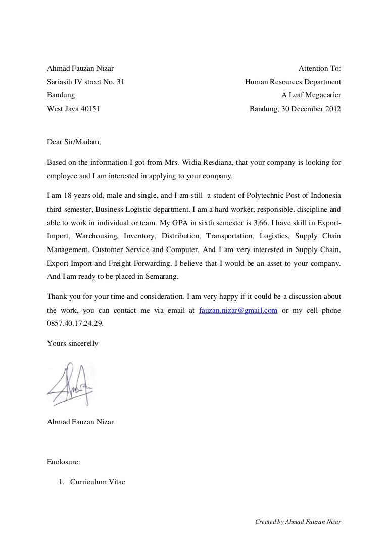 Contoh Application Letter Fresh Graduate Yang Bagus Essay Sample