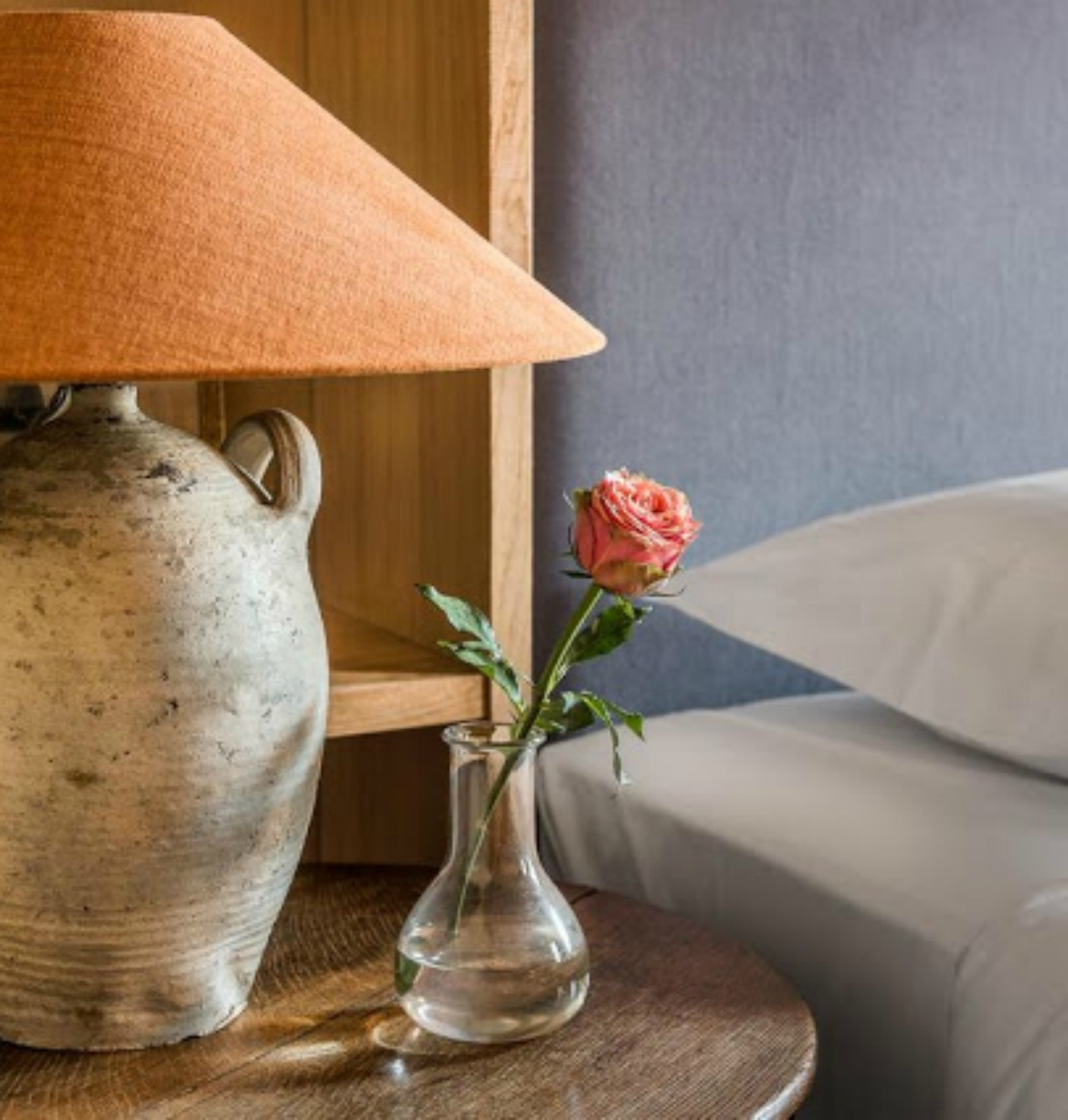 Belgian style lamp on night table in bedroom - found on Hello Lovely Studio