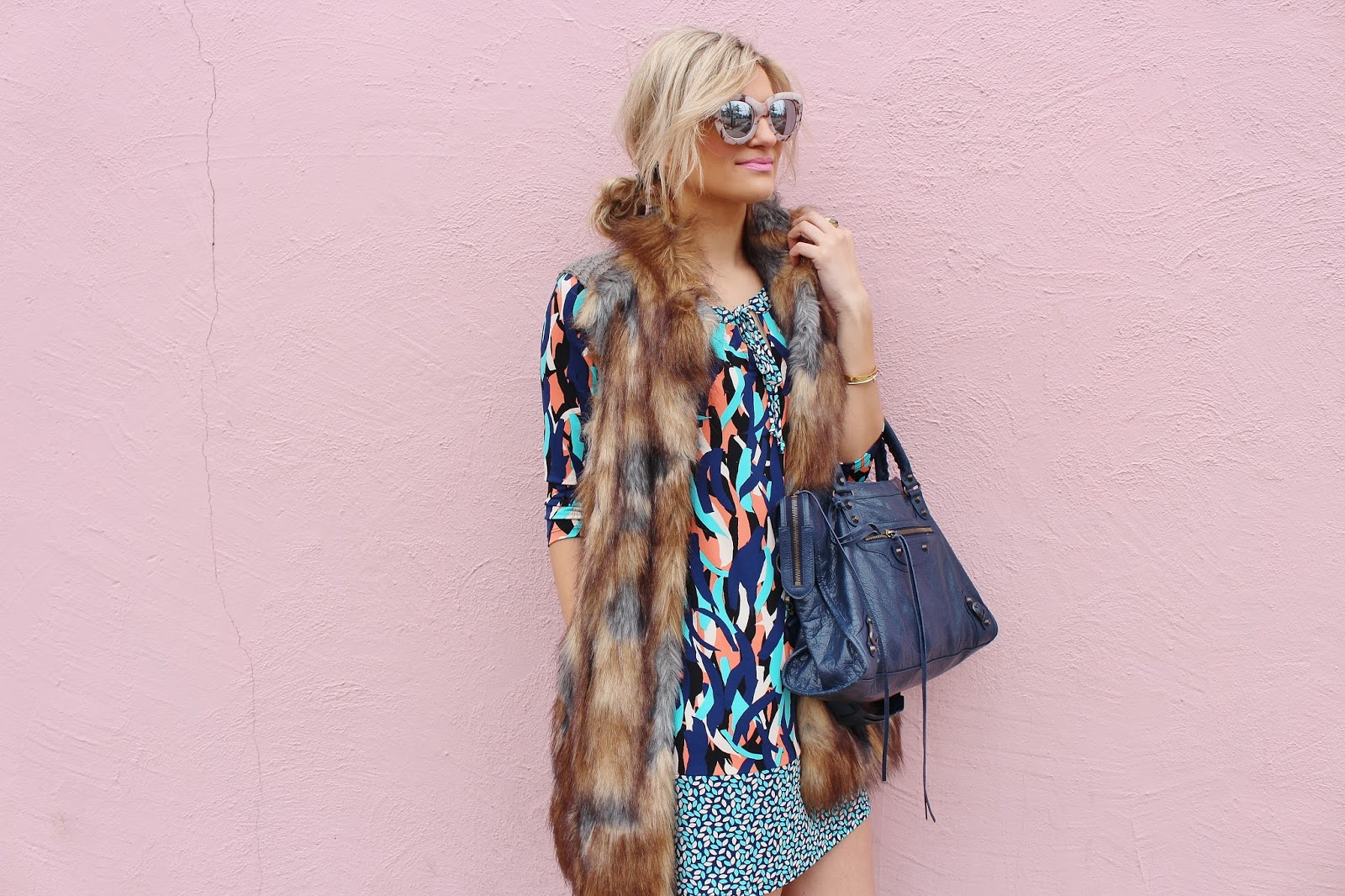 Bijuleni - How to Style a Summer Dress in Winter- Leota dress, fur vest and Balenciaga Bag