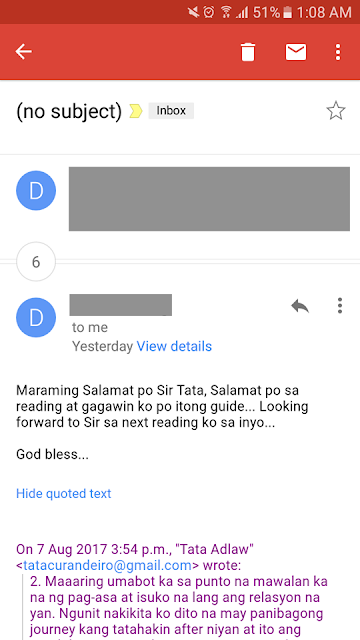 Maraming Salamat po Sir Tata sa reading at gagawin ko po itong guide. Looking forward sa next reading ko sa inyo. God bless.