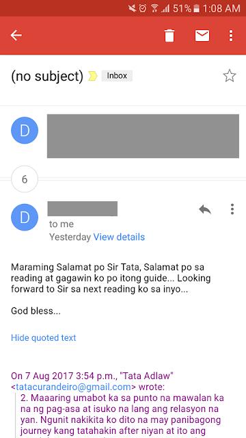 Maraming Salamat po Sir Tata sa reading at gagawin ko po itong guide. Looking forward sa next reading ko sa inyo. God bless.