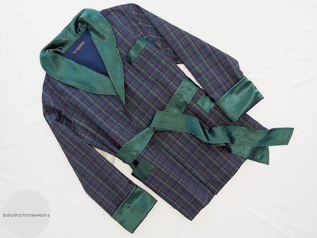 man short robe cotton flannel fleece plaid warm classic smoking jacket bottle green navy blue satin silk lapel